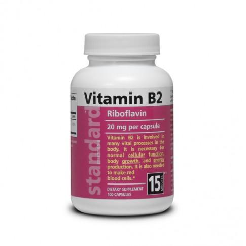 Vitamin B2 - Riboflavin - 20 mg - 100 capsules